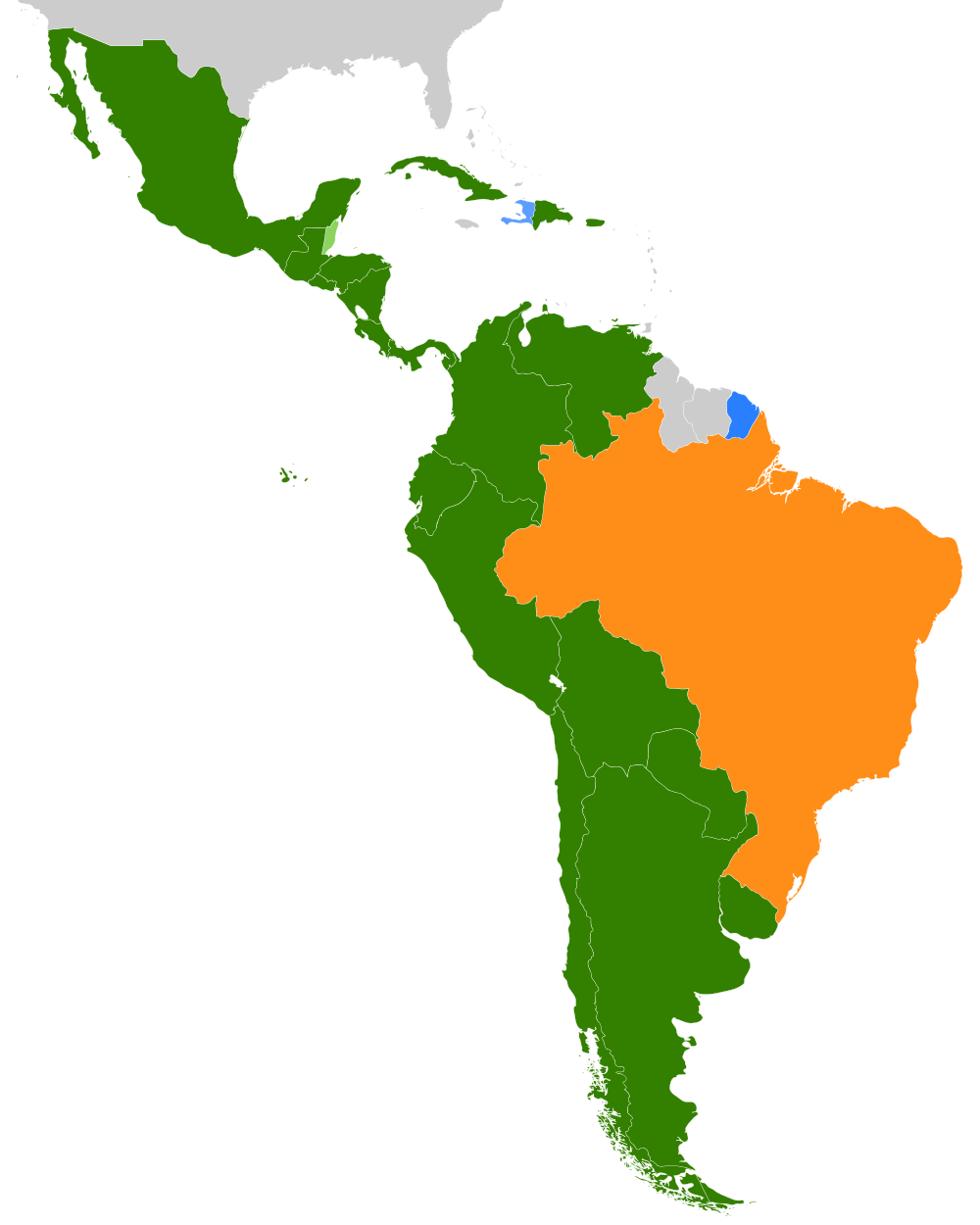 1000px map romancelatinamericagg 10001250 pixels the linguistic map of latin america spanish in green portuguese in orange and french in blue gumiabroncs Gallery
