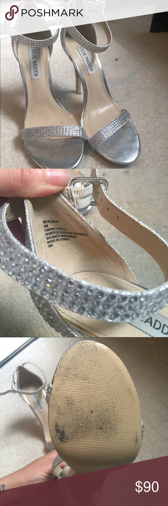 Steve Madden silver heels Steve Madden silver heel sandals. Sz 7 worn once. Excellent condition. Steve Madden Shoes Heels