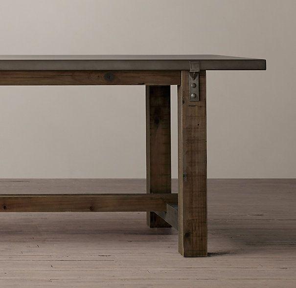 Reclaimed Wood Zinc Top Strap Rectangular Dining Table Esstisch Tisch Esszimmertisch
