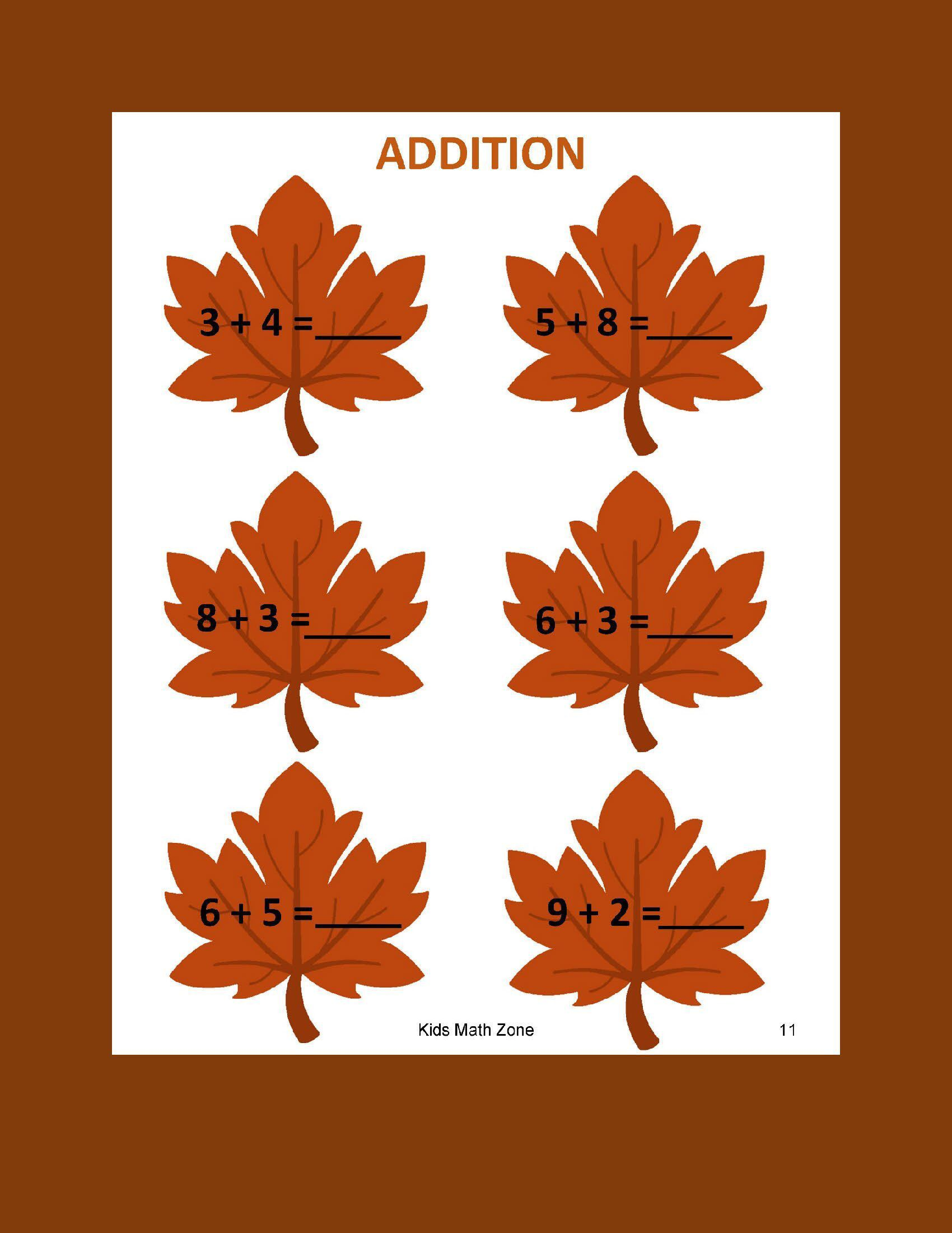 Fall Addition A 12 Worksheets Preschool