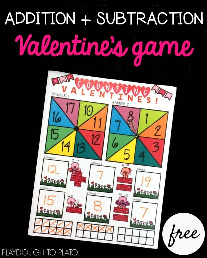 Valentine S Addition And Subtraction Game Playdough To Plato Addition And Subtraction Subtraction Games Math Valentines Addition and subtraction games