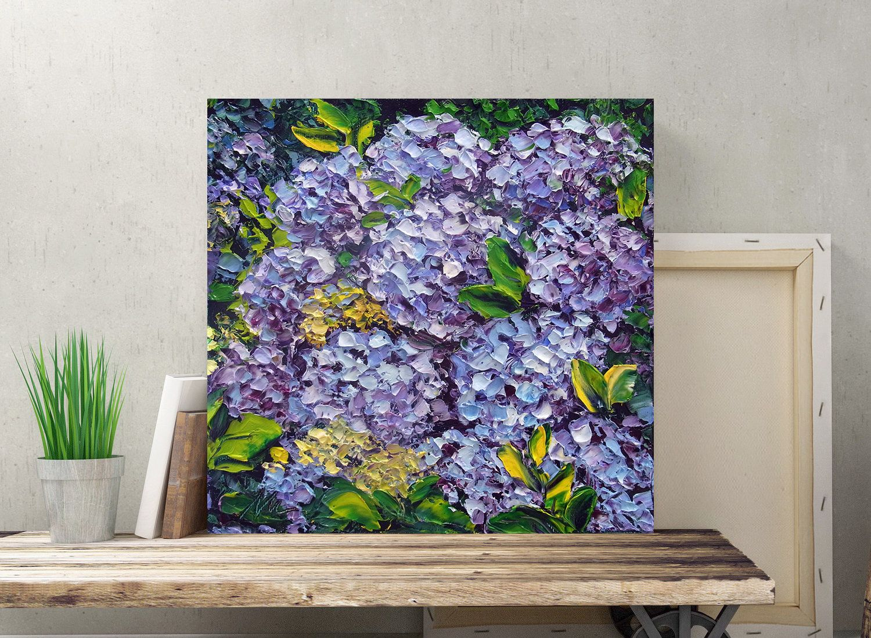 Small Oil Painting Blue Hydrangea Original Wall Art