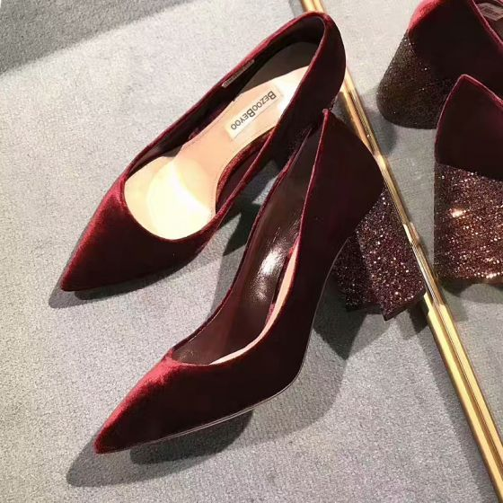 e3f000dc822 Chic / Beautiful Burgundy Womens Shoes 2018 Evening Party Leather ...