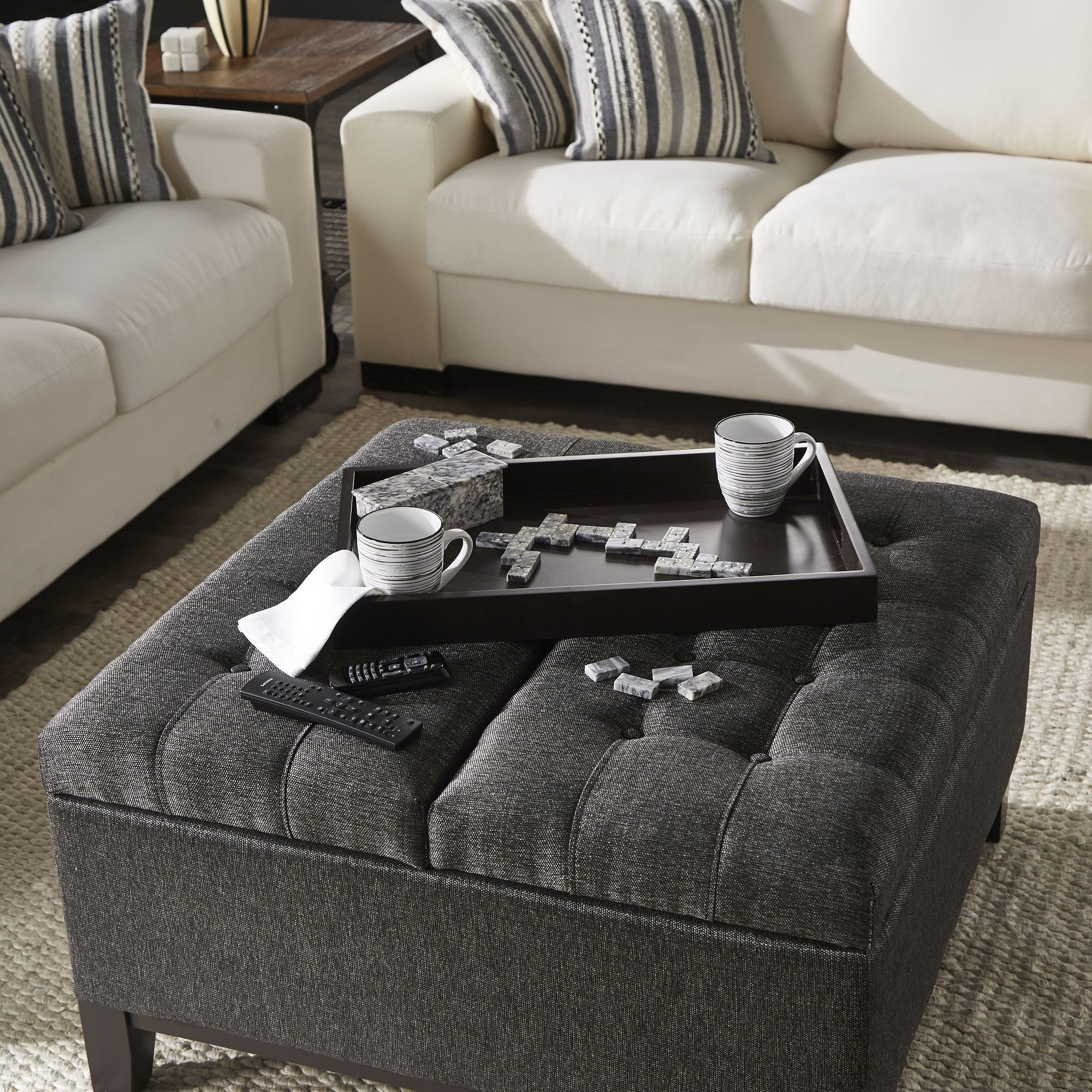 Dark Grey Fabric Lift Top Storage Ottoman With 2 Trays In 2021 Storage Ottoman Coffee Table Storage Ottoman Grey Upholstery [ 2000 x 2000 Pixel ]