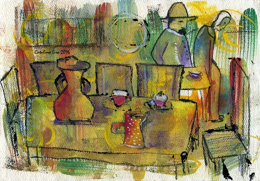 """""""Misunderstanding"""". 20x30 cm. Paper. Gouache. http://www.facebook.com/thecatalinalira"""