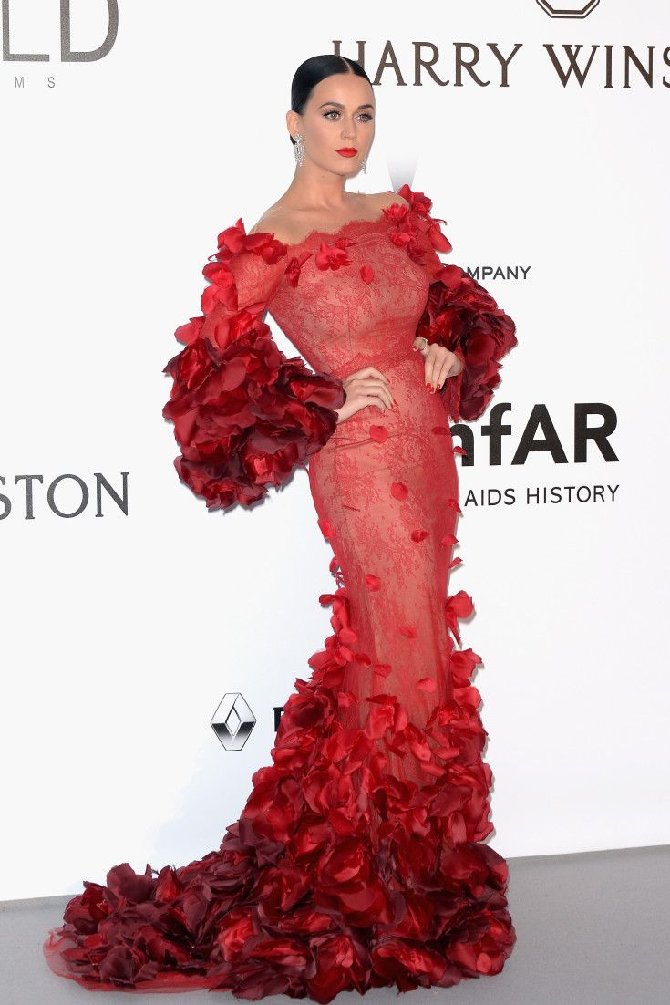 Cannes amfAR Gala 2016: Katy Perry Is The IRL Red Dress Dancing Emoji In Marchesa