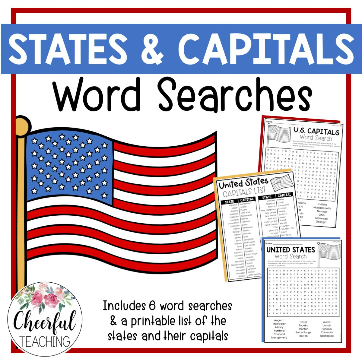 U S States Amp Capitals Word Searches