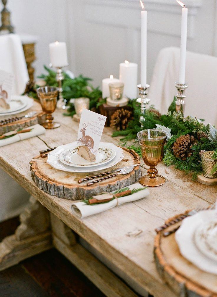 Rustic Wedding Inspiration Wooden Log Slat Place Settings Greenery And Pinecone Christmas Table Settings Christmas Tablescapes Christmas Table Decorations
