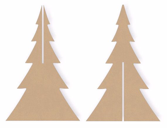 two sets of 12 inch tall interlocking standing wooden christmas tree cutout shapes - 12 Inch Christmas Tree