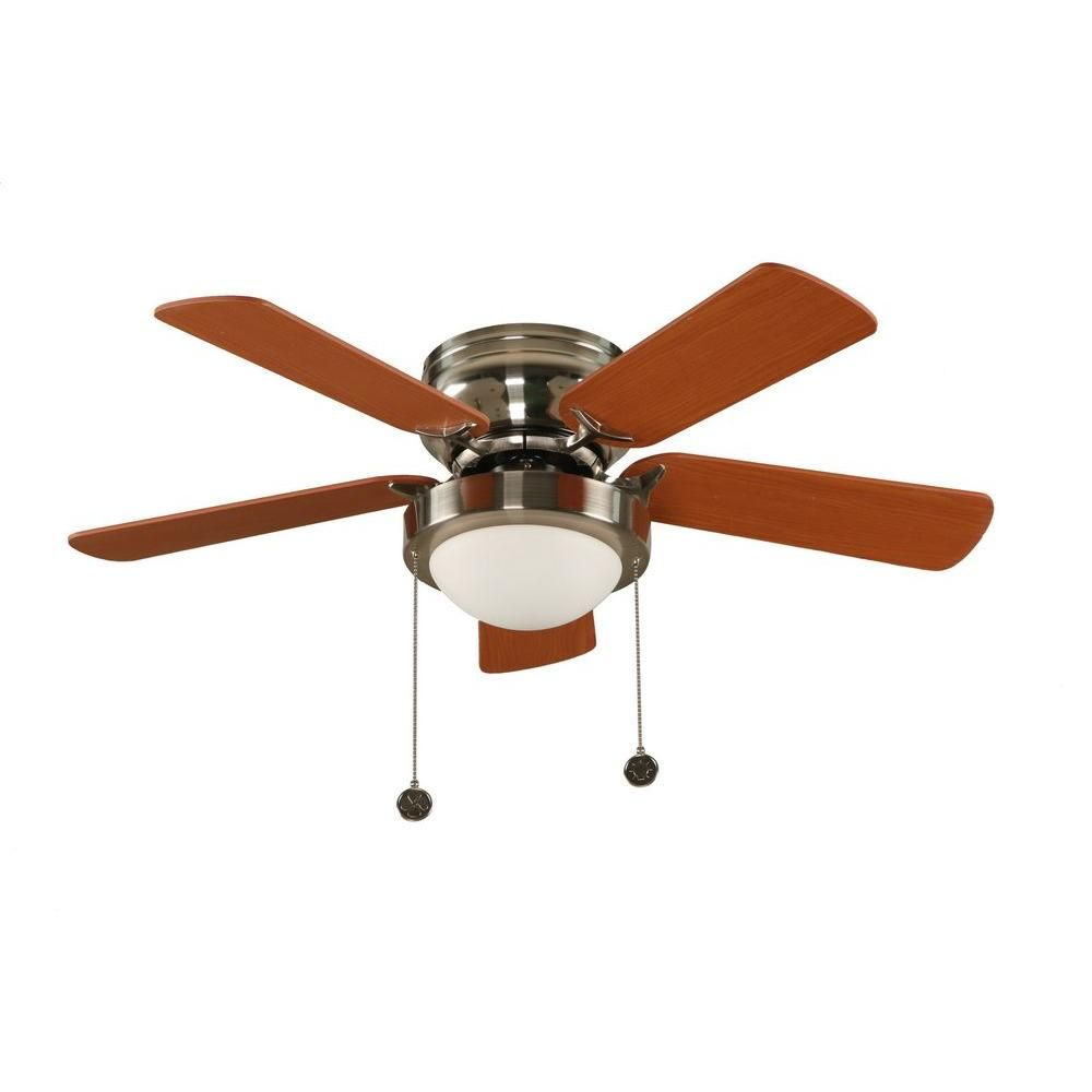 Hampton bay capri 36 in brushed nickel hugger ceiling fan with 5 brushed nickel hugger ceiling fan with 5 reversible mdf blades aloadofball Gallery