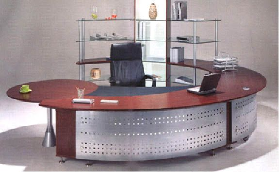 modern, round u-shaped desk with metal | office environments
