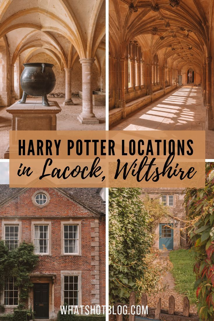 There are many Harry Potter film locations in the quaint British town of Lacock. You'll recognise Lacock Abbey interiors as the Hogwarts corridors and Hogwarts classrooms. The village is also where Harry Potter's parents' home is as well as Slughorn's hideout. Read all about these Harry Potter spots in Lacock, Wiltshire, England. #whatshotblog #harrypotterfan #harrypotter #england #britain #uktravel