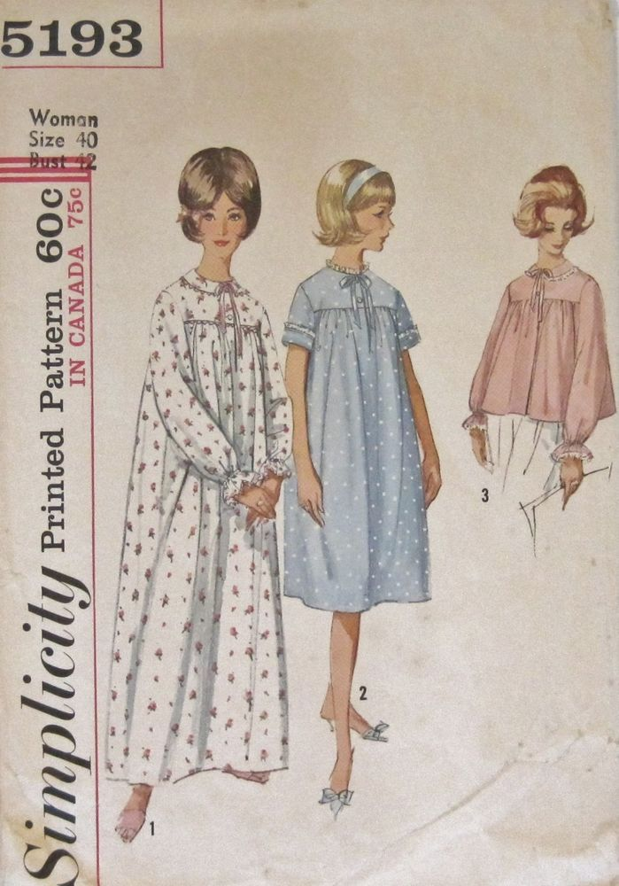 Vintage 1960\'s Simplicity NIGHTGOWN & BED JACKET PAJAMAS PATTERN ...