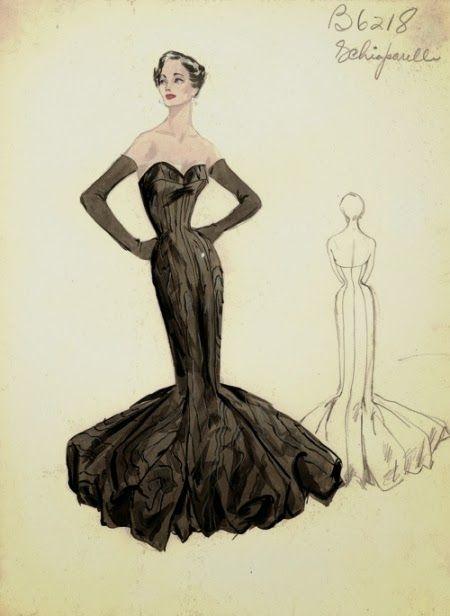 Boceto vestido de noche de Elsa Schiaparelli(dibujo de 1950 ...