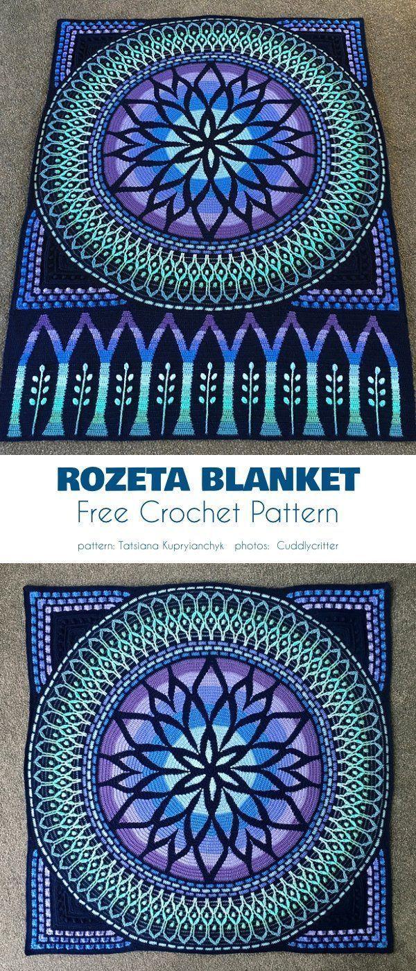 Rozeta Blanket Free Crochet Pattern Es un producto muy decorativo y elegante ...