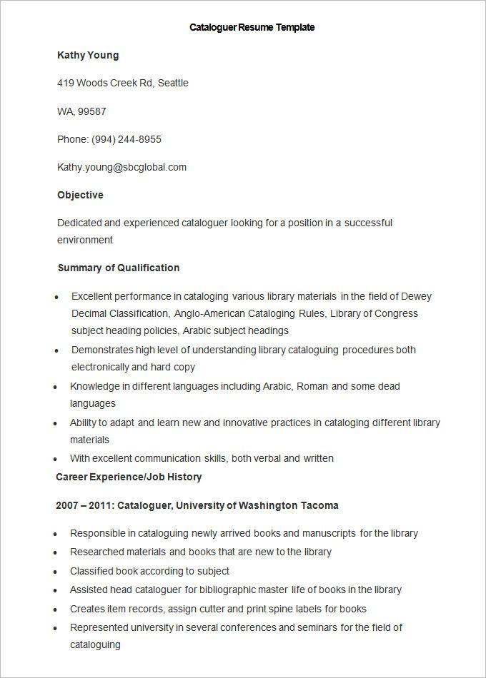 Sample Cataloguer Resume Template , How to Make a Good Teacher - hard copy resume