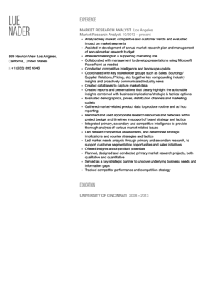 research analyst resume sample