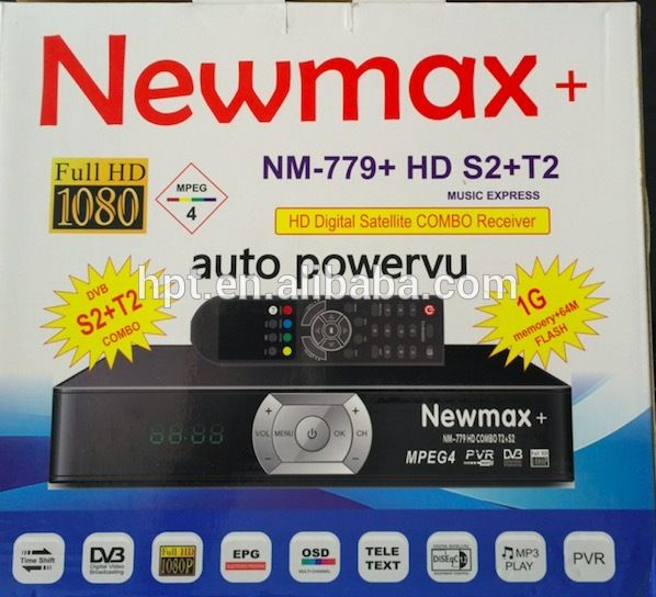 DVB-S2 & DVB-T2 COMBO with biss key NEWMAX MODEL NX-779+ power vu