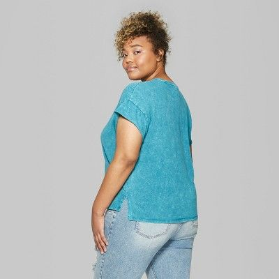 bba3e32b232 Women s Plus Sized Oversized Short Sleeve Crew Neck Washed Dolman T-Shirt - Wild  Fable Teal 4X