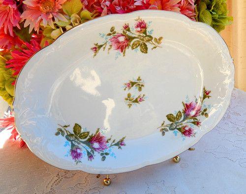Beautiful Vintage Wawel Poland Porcelain Serving Platter ~ Moss Rose ~ Gold