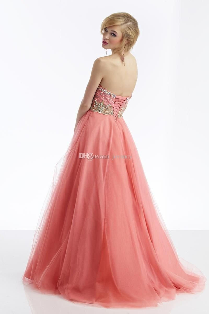 Long prom dresses sweetheart crystal beads pearl sequins backless
