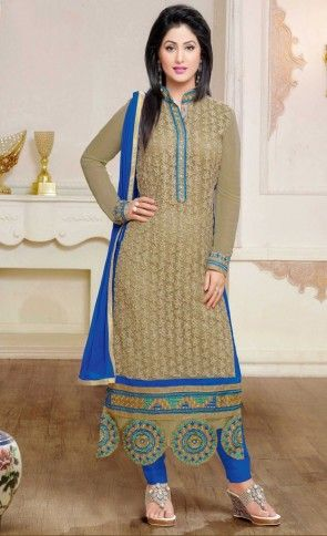 Heenari Georgette Designer with Embroidery Straight Cut Suit-Heena Khan