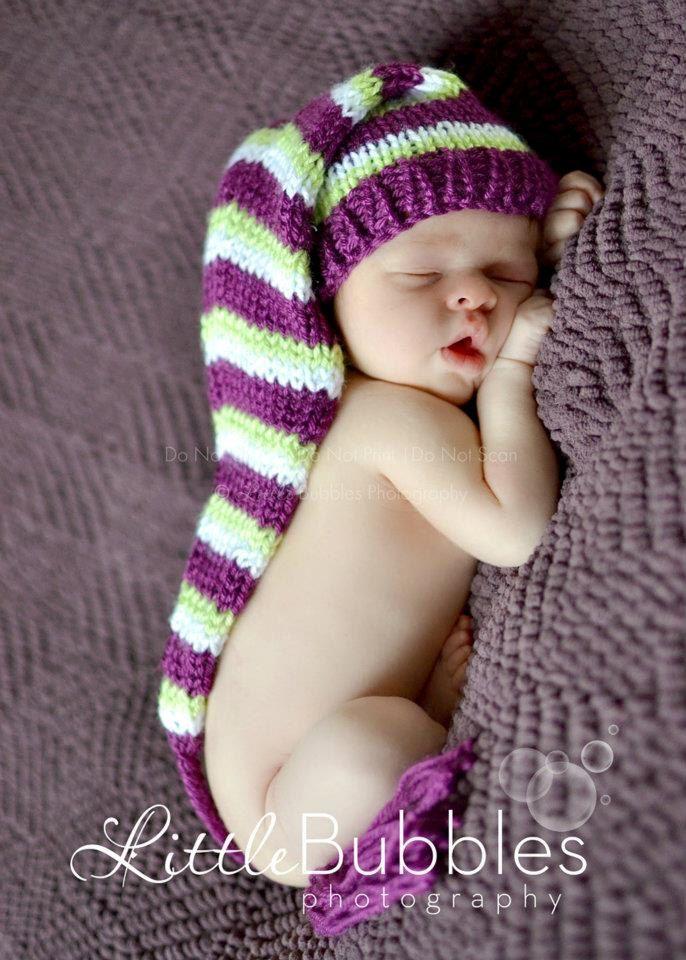 Hand Knit Newborn Baby Girls Pixie Hat