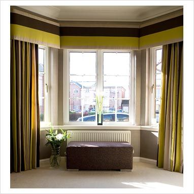 GAP Interiors Modern curtains in bay window Picture library Modern Bay Window Treatments