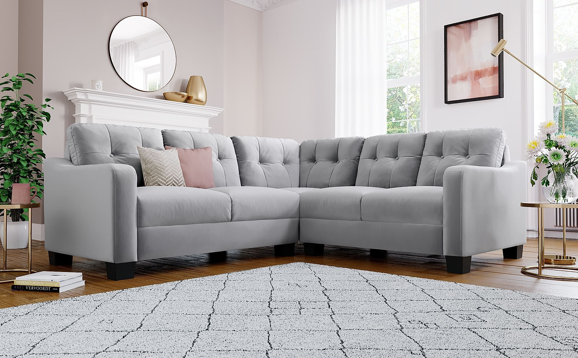 Belmont Grey Velvet Corner Sofa Velvet Corner Sofa Corner Sofa Sofa Furniture