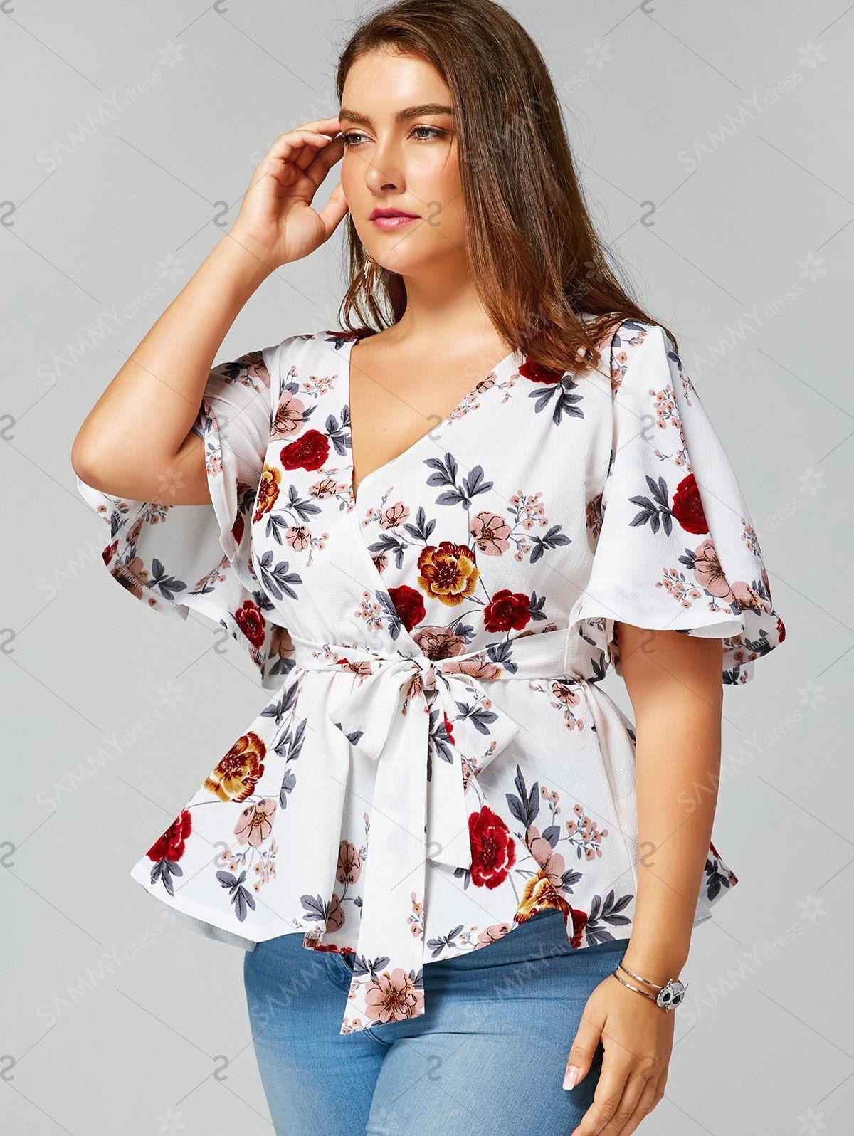 2ad7c12b6a4 Floral Plus Size Belted Surplice Peplum Blusa cor de Branco 5xl ...