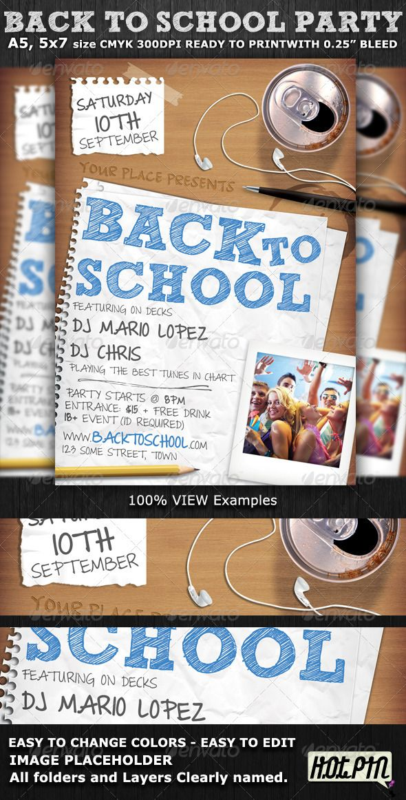 Back To School Party Flyer Template  Party Flyer Flyer Template
