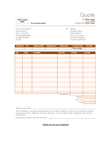 Sample Sales Quotation Invoices Free Office Templates Quotations Sales Quotation Office Templates