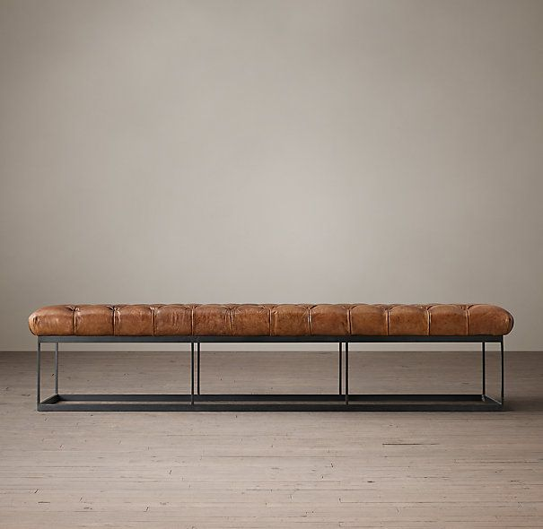 78 tufted leather metal bench 20 deep 16 5 tall what is the back wall dimension and - Bench at bottom of bed ...