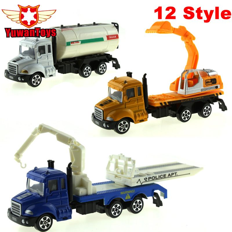 12 Style METAL Car Diecast Cars Toys Alloy Toys Car Models Collectible Skin City Bulldozers Tractor Models Truck Toys For Kids