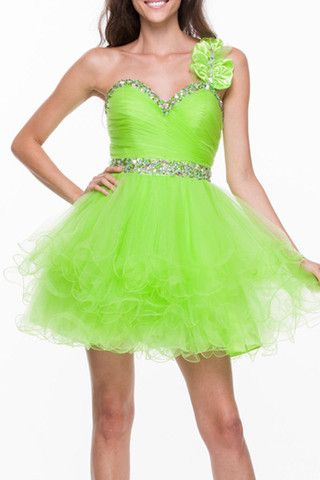 A Line/Princess One Shoulder Sweetheart Neckline Home Coming Party Holiday Cocktail Short Prom Dress With Ruffle Beading