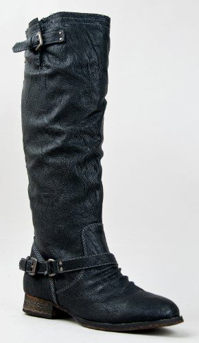 Amazon.com: Breckelle's OUTLAW-81 Fashion Basic Knee High Classic Buckle Riding Boot: Shoes