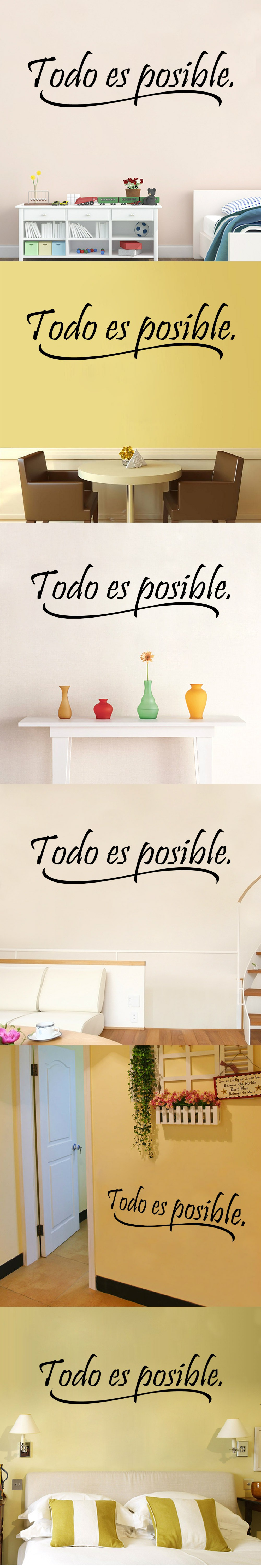 AW9221 Everything Is Possible Spanish Inspiring Quotes Wall Sticker ...