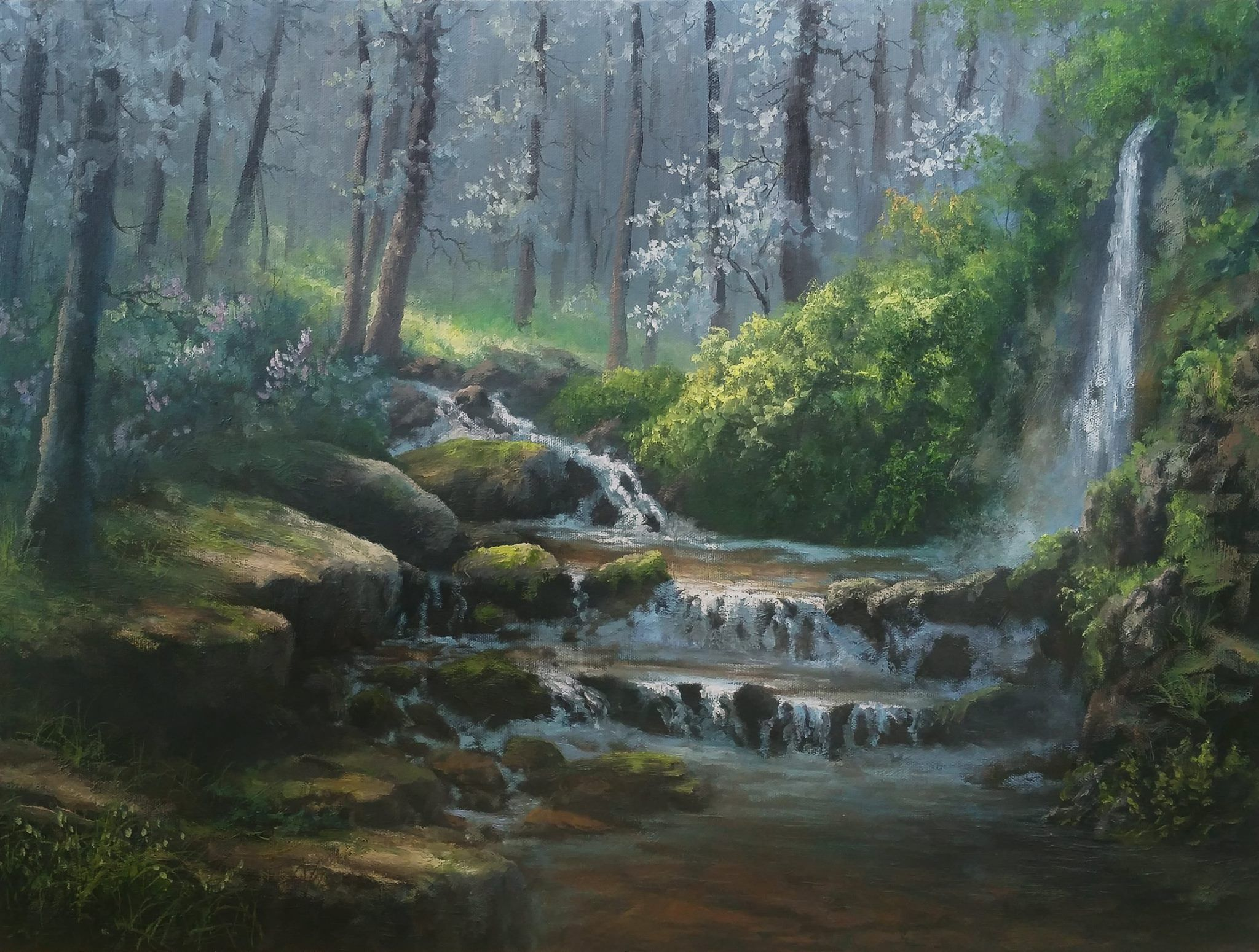 Misty Forest Creek Oil Painting By Kevin Hill Watch Short Oil Painting Lessons On Youtube Kevin Hill Paintings Landscape Painting Lesson Landscape Paintings