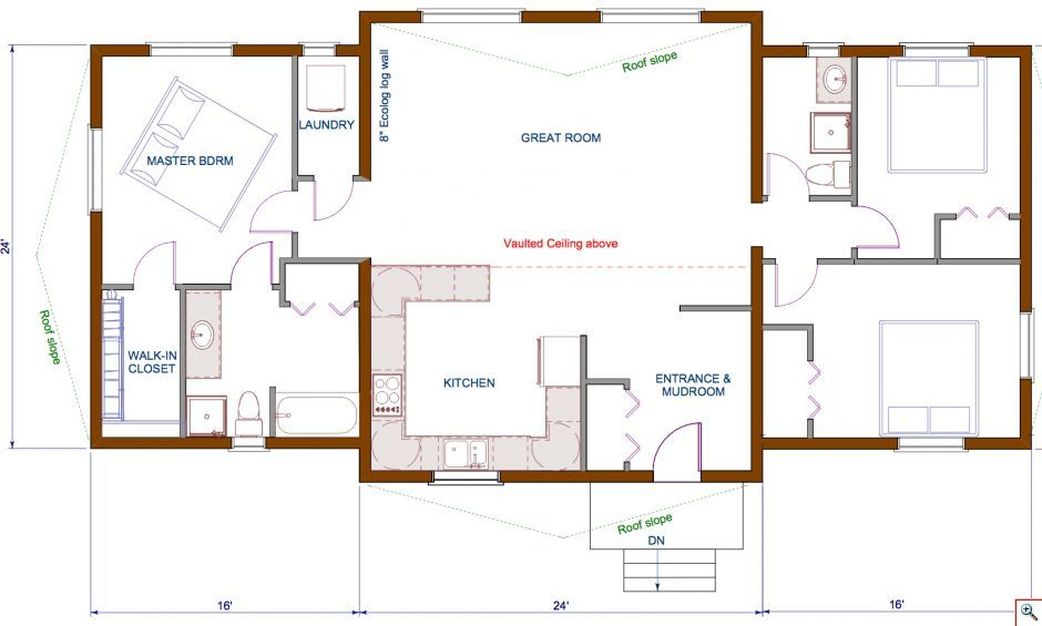 Floor Plan 1440 Sqft Wing Shaped Single Level Log Home Rancher Bungalow Style