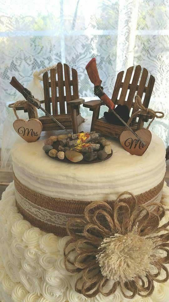 Shot Gun Riffle Hunting Wedding Cake Topper Deer