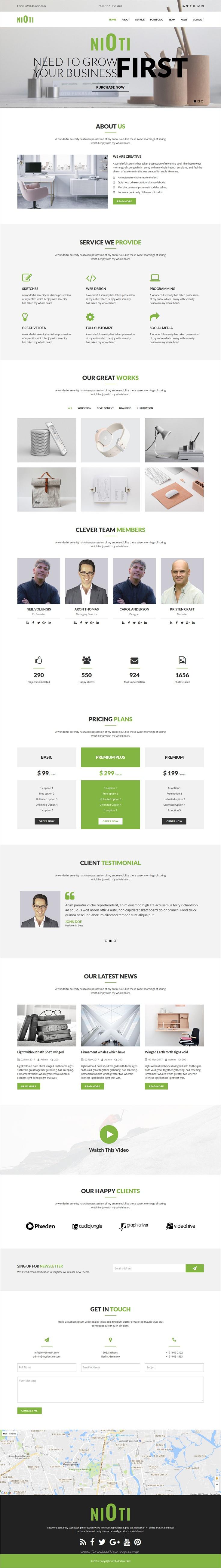 nioti one page multipurpose html template company profile
