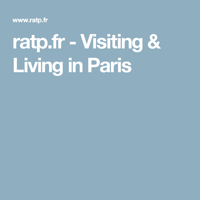 ratp.fr - Visiting & Living in Paris