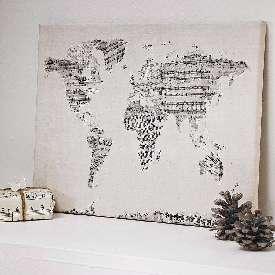 Sheet Music Wall Art sheet music world map art print | sheet music and printing