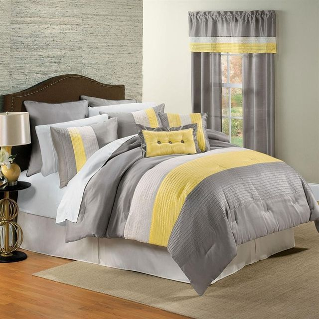 15 Pieces Marisol Yellow Grey White Comforter Bed In A Bag Set Queen Size Bedding Sheets P Grey And White Comforter Yellow And Gray Bedding Designer Bed Sheets