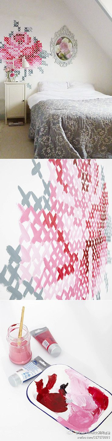 : # Sensation # Dutch designer, Eline Pellinkhof is a cross-stitch enthusiasts, and her own wall to draw the visual effects of a similar cross-stitch rose, the method is very simple, and got ready-made cross-stitch pattern, the corresponding position in wall crossed the line, just the right color.