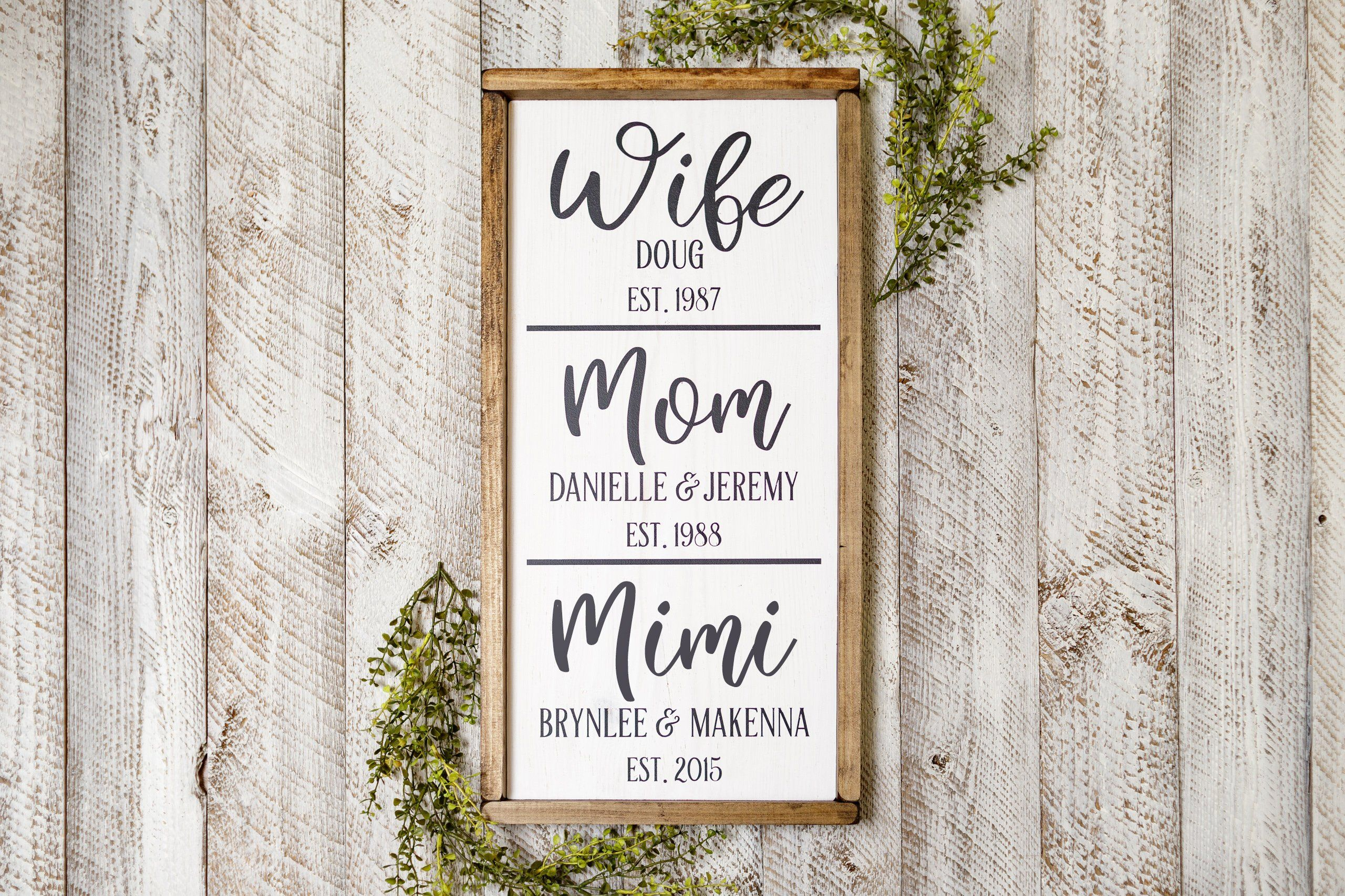 Wife Mom Mimi Established Sign Mothers Day Personalized Mothers Day Gift Personalized Gran Personalized Grandmother Gift Grandmother Gifts Grandparent Gifts
