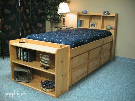 Captains Bed With Bookcase End Diy Kids Bed Captains Bed Bed