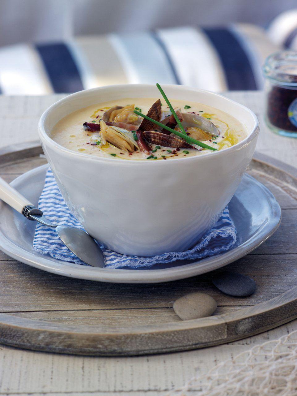 Cena ligera con sabor a mar · crema de almejas con bacon - ElMueble.com