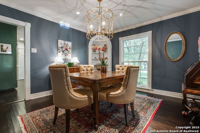 Love The Gold Light Fixture And Color On Wall Benjamin Moore Philipsburg Blue Dining Room