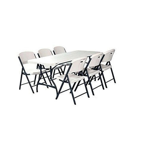 Folding Table And Chairs Set Of Lifetime Combo One White Granite Perfect For Indoor Outdoor Parties Folding Table Table And Chair Sets Folding Chair